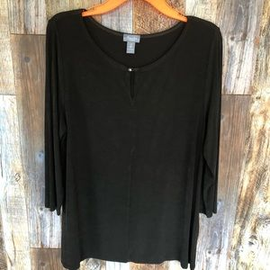 TRAVELERS BY CHICOS Brown Stretch Blouse. Large.